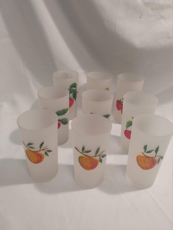 FREE SHIPPING- Vintage Set of 9 Federal Glass Frosted Tumbler Glasses with Hand Painted Fruit Motif. Excellent Condition!