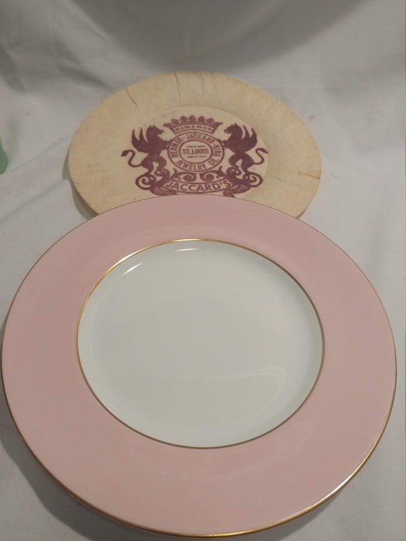 "FREE SHIPPING*- Vintage Spode Copelands Fine China 10-1/2"" Diameter Fine China Porcelain Plate. Pattern Y5728-Wide Pink Band with Gold Band"