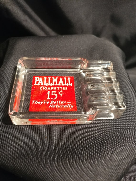 FREE SHIPPING- Vintage Glass Advertising Premium- Pall Mall Tobacco Ashtray with Logo. Holds 4 Cigarettes. Wonderful Graphics!