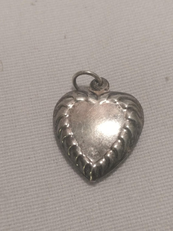"""FREE SHIPPING- Sterling Silver Puffy Heart Charm for Charm Bracelet. 3/4"""" Long. Great Condition!"""