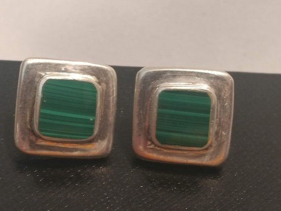 """FREE SHIPPING- 925 Sterling Silver Square Stud Style Pierced Earrings with Green Malachite Semi-Precious Stone. Sized 3/4"""" Square"""
