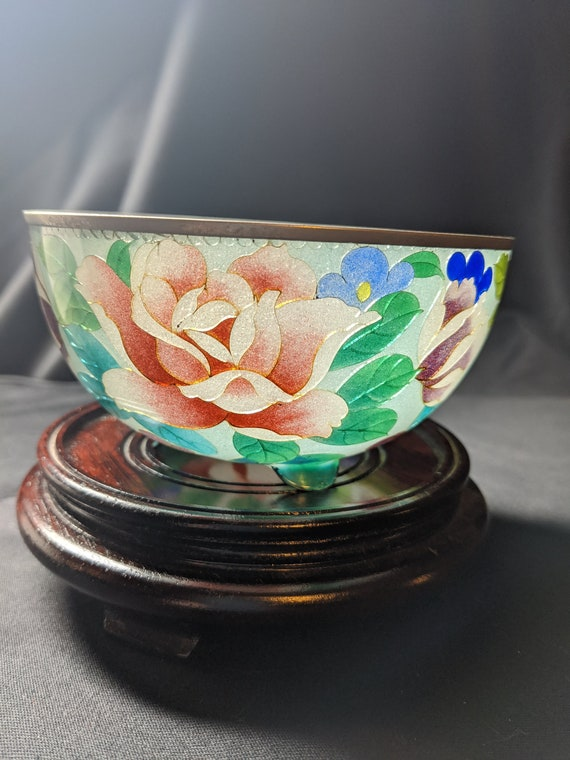 FREE SHIPPING- Antique Japanese Cloisonne Chawan Shotai Shippo/Plique a Jour Enameled Flower Bowl with Stand. Beautiful!