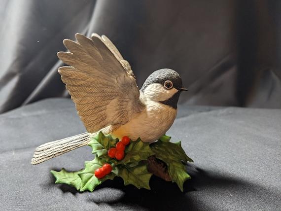 FREE SHIPPING- Vintage Lenox Bisque Porcelain Chickadee Bird Figurine. Made in Japan.  Gold Lenox Hallmark on Base. Beautiful details!
