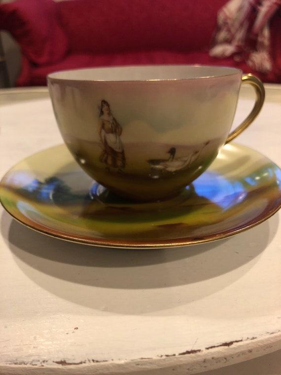 FREE SHIPPING- Royal Bayreuth-Goose Girl-Cup Saucer