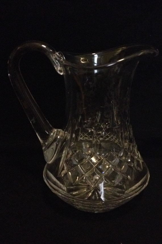 "FREE SHIPPING-Fabulous-Rogaska-Gallia-Crystal-Flower Etched-8 1/2"" Tall-Made In Yugoslavia-Pitcher"
