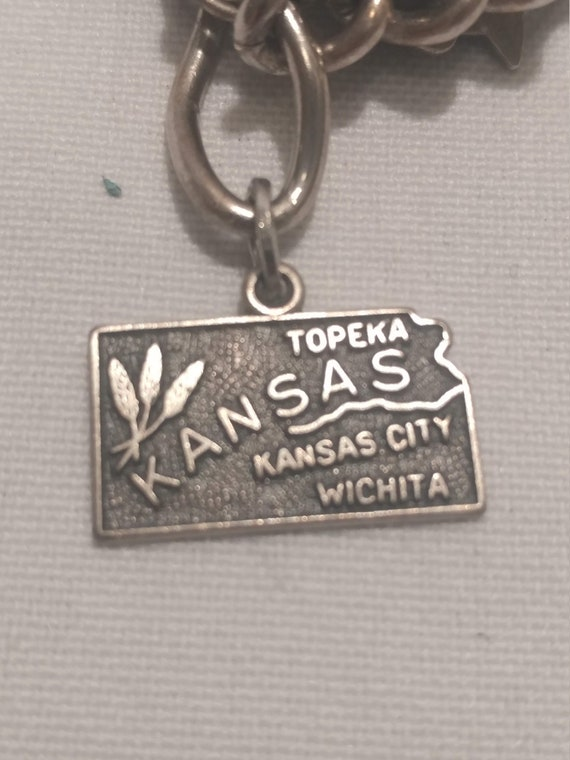 FREE SHIPPING- Sterling Silver Charm for Charm Bracelet: Kansas State Charm