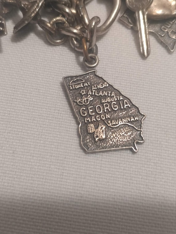 FREE SHIPPING- Sterling Silver Charm Bracelet Charm: Georgia