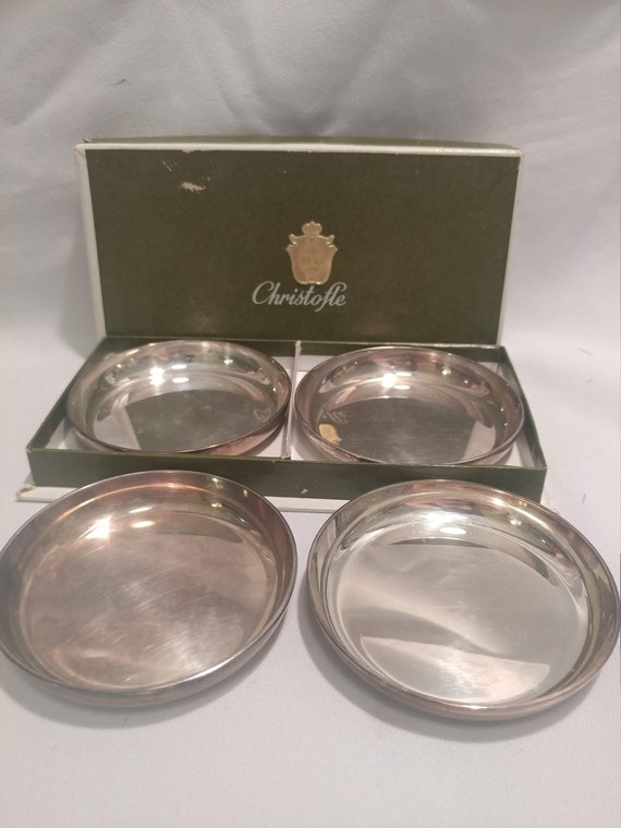 """FREE SHIPPING- Set of 4 Christofle, France Silver Plated 4"""" Diameter Coaster/Bottle Coaster Set. Original Box. Excellent Condition!"""