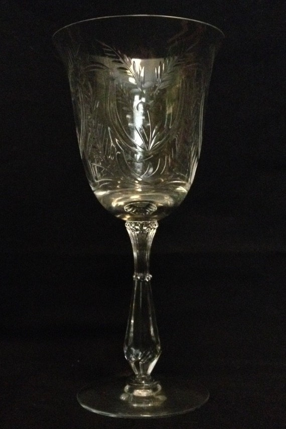 "FREE SHIPPING-Excellent-Vintage-1950's-Tiffin-Franciscan-True Love-Stemmed-7 5/8"" Tall-Water Goblet-Glass"