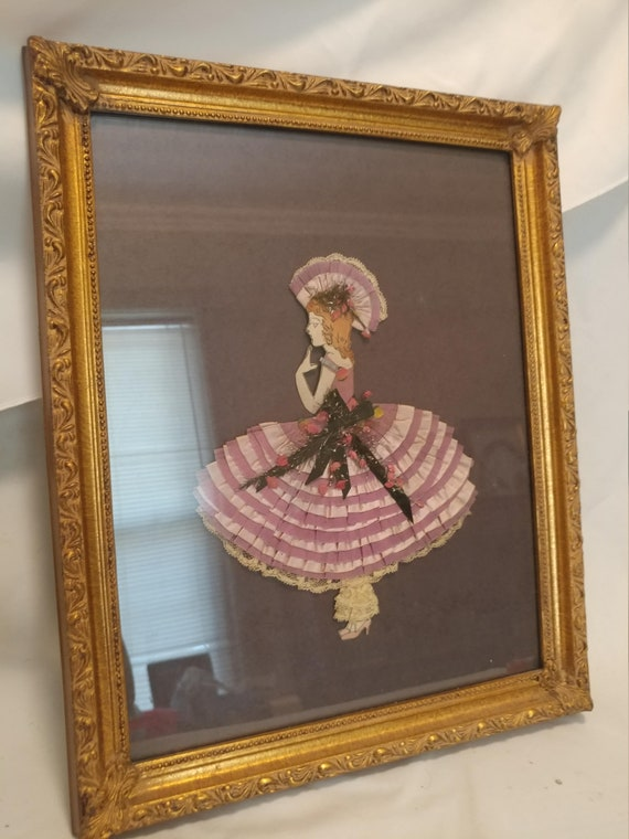 """FREE SHIPPING- Vintage Ribbon & Lace Framed Paper Doll. Violet Dress. Beautiful Thick Frame. 15-3/4"""" Long x 12-3/4"""" Wide"""