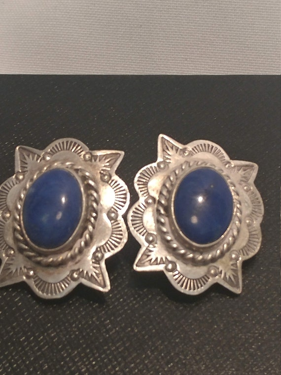 """FREE SHIPPING- 925 Sterling Silver Clip On Earrings with Oval Blue Lapis Semi-Precious Gemstone.""""Tommy"""" Stamped on Back. Southwestern Design"""
