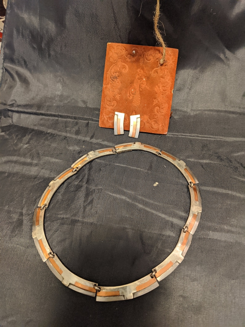 Vintage Sterling Silver/& Copper Modernist Link Necklace with matching screw back earrings See Below Signed Victoria Taxco Mexico