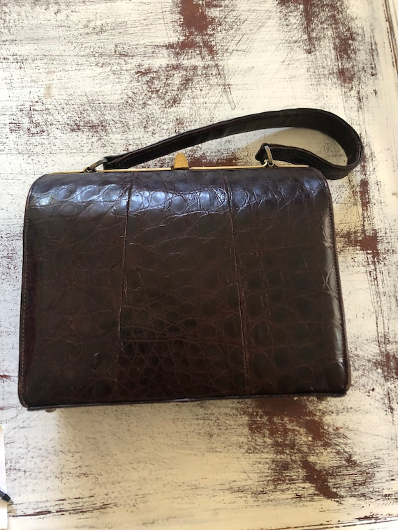 FREE SHIPPING-Vintage Alligator Pocketbook Purse-Rich Brown Color