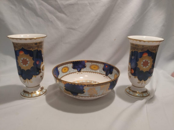 FREE SHIPPING- Vintage Royal Worcester Fine Bone China Millenium Themed Vases (2) and Bowl. Celestial Design. Limited Production!