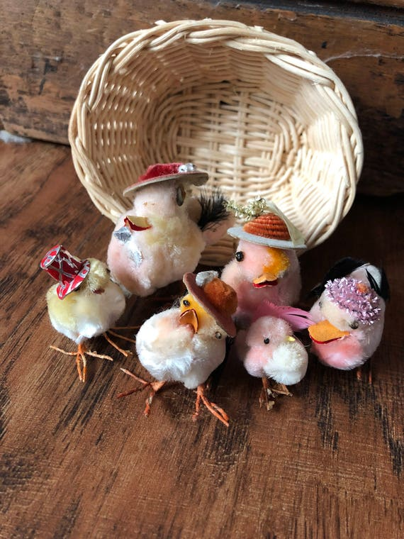 FREE SHIPPING-Vintage Chicks and Ducks with Easter Bonnets