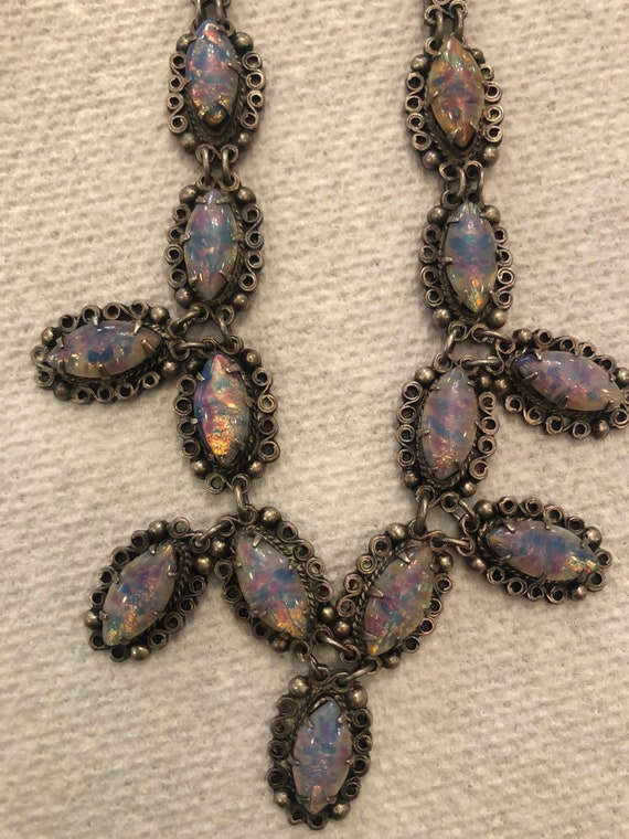 FREE SHIPPING-Vintage Mexican Silver-Jelly Opal Necklace- 13 Manmade Glass Stones inset into silver settings