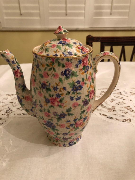 FREE SHIPPING-Vintage-Old Cottage Chintz-Royal Winton-England-Perth-Coffee Pot