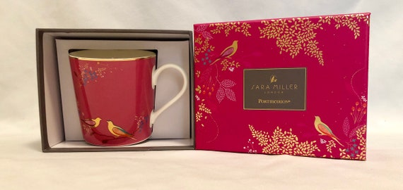 New In Box-Sara Miller-London-Portmeirion-Birds-Garden Setting-22 Carat Gold Detail-12oz-Mug