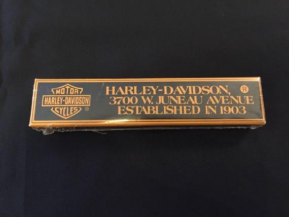 Free Shipping-Vintage-1990-Harley Davidson-Motor Cycles-Black-Ballpoint-Chrome Trim-New-In Sealed Original Box
