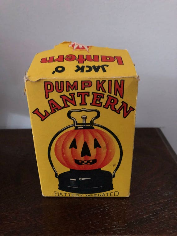 FREE SHIPPING-Vintage-Pumpkin Lantern-Battery Powered