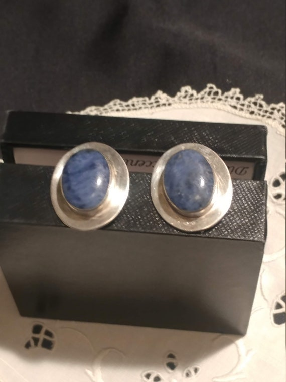 FREE SHIPPING- Vintage 925 Sterling Silver Mexico Earrings with Large Blue Lapis Stone. Pierced Ears.