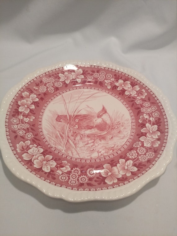 """Free Shipping- Vintage Spode Copeland England Wild Game Plates. Red Transfer Ware. 10"""" Diameter. """"Plover # 7"""""""
