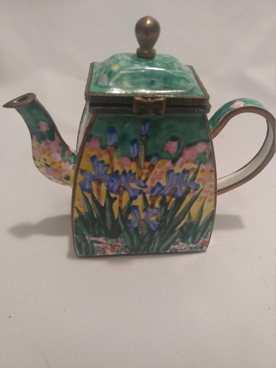 """Miniature enameled Brass Teapot/Trinket Box with Hinged Lid. Artist Signed and Numbered. Impressionist styled """" Wild Iris."""