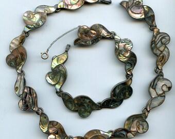 FREE SHIPPING-Vintage-1950's-Sterling-Taxco-Abalone-Necklace-Bracelet-Set-Signed Enrique Ledesma-Southwest-Mexico