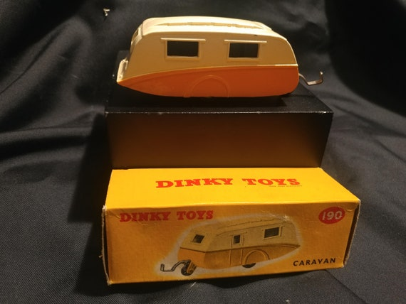 FREE SHIPPING- Vintage Dinky Toy Car in Original Box # 190- Caravan- Two Toned Paint- Beige and Yellow. Good Vintage Condition!