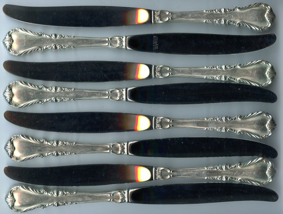 "Free Shipping-Set Of 8-Wallace-Pattern Shenandoah-Sterling Silver Handle-Stainless Blade-9 1/2""-Dinner Knife-No Monogram"