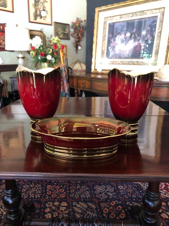 FREE SHIPPING-Three Piece-English-Carlton Ware-Rouge Royale-Console Set