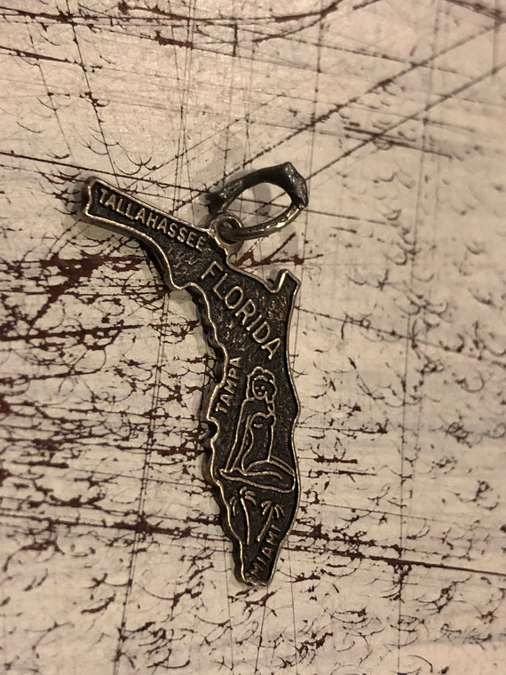 FREE SHIPPING-Vintage-Florida-Sterling Silver-State Map-Charm