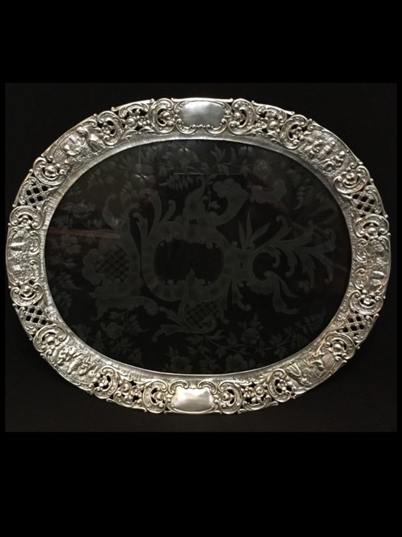 "FREE SHIPPING-Beautiful-Antique-Late 1800's-German-Sterling Silver-Hanau-Georg Roth-Wolf & Knell-13 1/4""-Decorative-Footed-Tray"