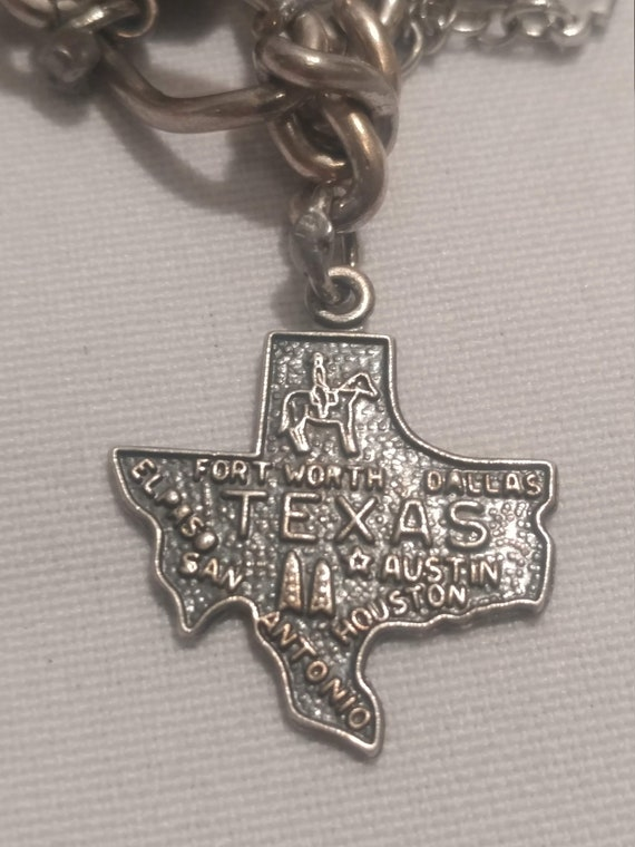 FREE SHIPPING- Vintage Sterling Silver with Charm for Charm Bracelet. Texas State Charm