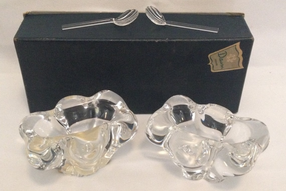 FREE SHIPPING-Fantastic-Pair-Daum-France-Crystal-Open-Salt-Cellars/Dip-With 2 Original Shell Shaped Spoons-In Original Box