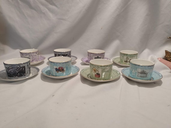 FREE SHIPPING- Vintage 1997 Wedgwood Millenium Collection Set of 8- Cups with Saucers. Excellent Condition!
