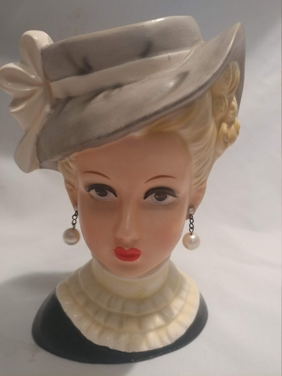 "FREE SHIPPING- Vintage Porcelain Relpo # 2054 Large Sized Lady Head Vase. 2 Faux Pearl Earrings. Sized 7"" Tall"