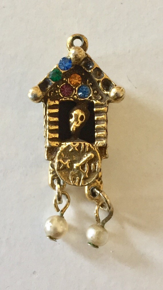 FREE SHIPPING-Vintage-1940's-14K Gold-Cuckoo Clock-Jewel Accents-Charm-As Is