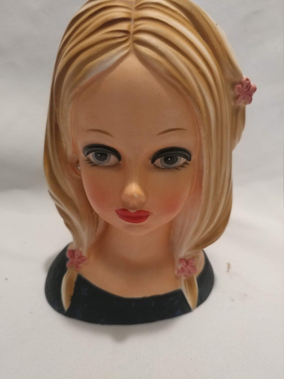 FREE SHIPPING- Porcelain Japanese Made Teen Head Vase. # 4136. Blonde with Flowers in Her Hair. Beautiful!!
