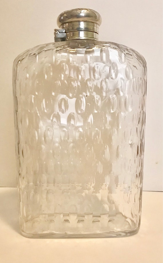 Victorian-Late 1800's-Tiffany-Raindrop-Glass-Monogrammed-Sterling-Lid-Flask