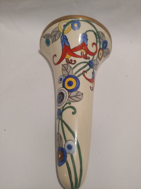 Vintage Hand Painted, Signed Noritake Japan Wall Pocket. Beautiful with Art Nouveau Style Motif. Gold Painted Rim.