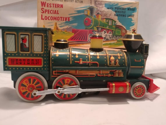 FREE SHIPPING- Battery Operated Trade Mark Toys Japan Mystery Action Western Special Locomotive. Puffing Noise, Whistle & Flashing Lights.