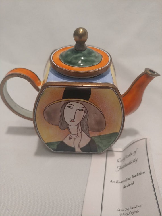 """FREE SHIPPING- Modigliani Enameled Miniature Teapot. Artist Signed and Numbered. Kelvin Chen. Number 4190. """"Lady with Hat"""" Design."""
