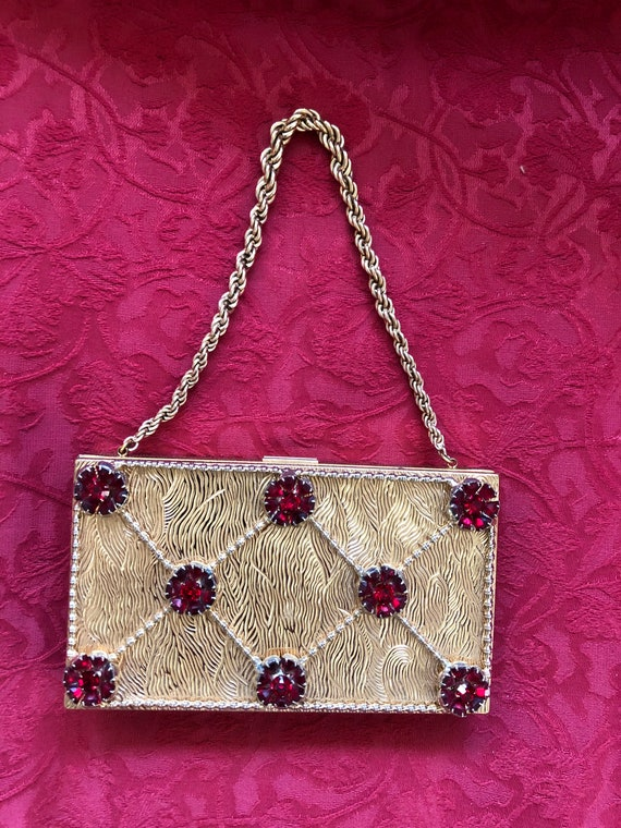 FREE SHIPPING-Evans-Rhinestone Studded-Compact-Clutch Purse