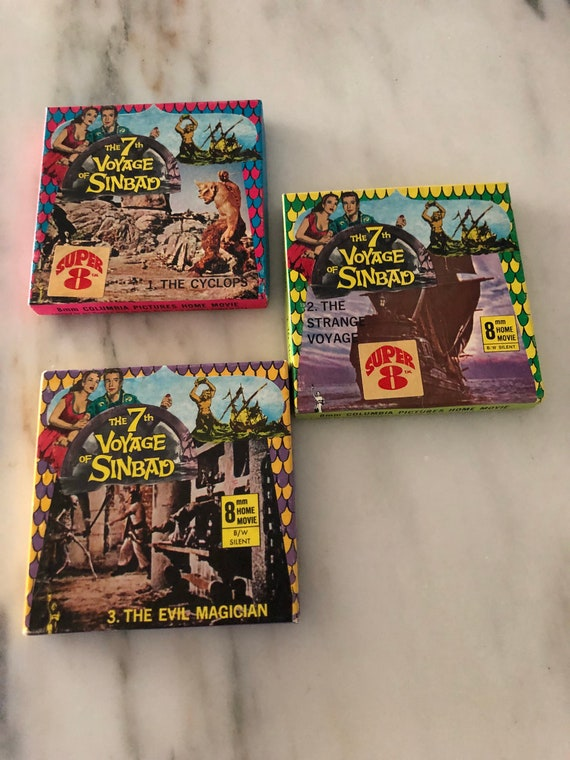 FREE SHIPPING-The 7th Voyage of Sinbad- Set of Three-8mm-Hime Movie-Black /White -Silent