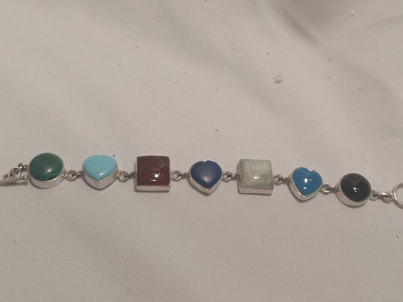 FREE SHIPPING- 925 Sterling Silver Southwestern Link Bracelet with Semi-Precious Stones