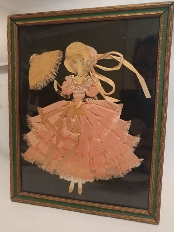 """FREE SHIPPING- Vintage Lace and Ribbon Framed Paper Doll. Pink Dress with Parasol. Sized 10-1/4"""" Long x 8"""" Wide"""