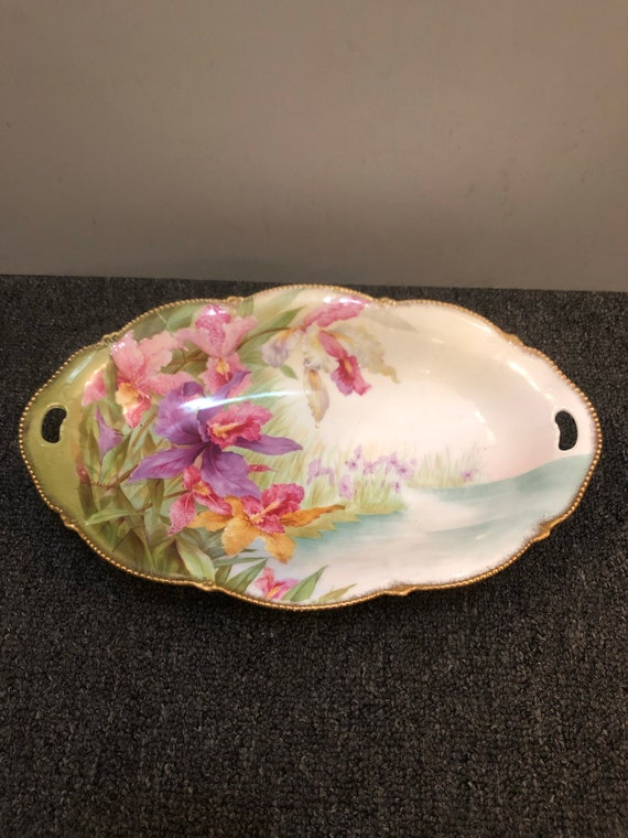 FREE SHIPPING-Bavarian-Hand Painted-Artist Signed-Summer-Antique-Bowl