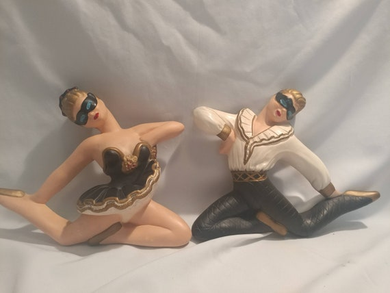 FREE SHIPPING- Pair of 2 Vintage Chalkware Harlequin Ballerina Dancer Wall Hanging Figures