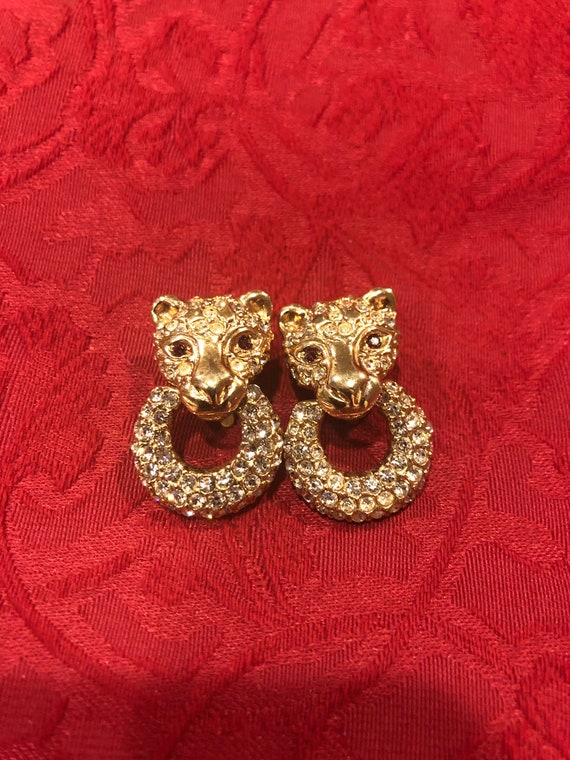 FREE SHIPPING-Roman-Clip On-Lion-Cat-Cheetah-Rhinestone Earrings